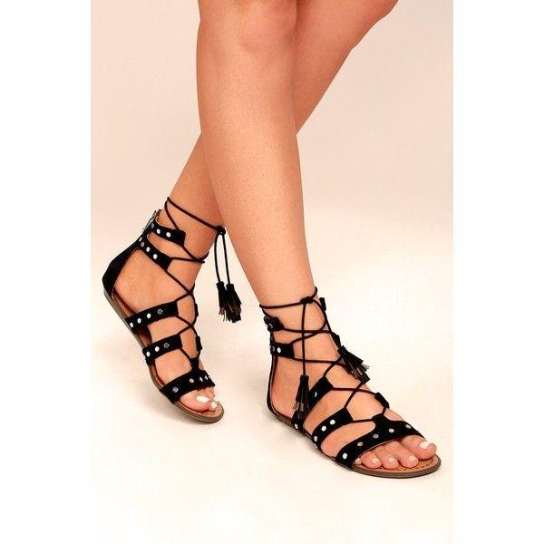 Laurel Black Suede Gladiator Sandal Heels ($59) ❤ liked on Polyvore featuring shoes, sandals, black, strappy gladiator sandals, gladiator sandal, black gladiator sandals, gladiator wedge sandals and wedge sandals