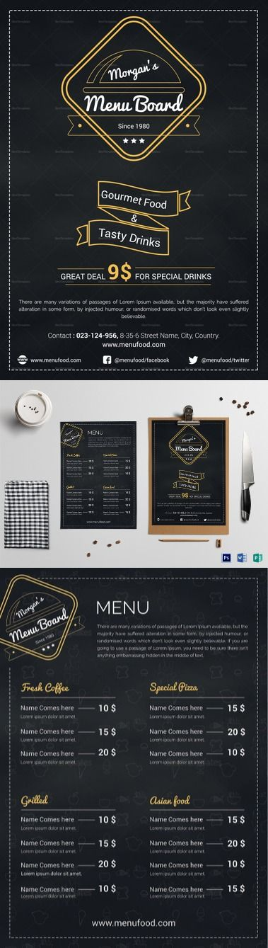 Simple Restaurant Menu Board Template  Formats Included : MS Word, Photoshop, Publisher File Size : 8.2x11.69 Inchs