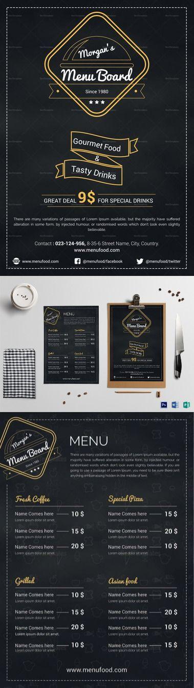 Simple Restaurant Menu Board Template Formats Included