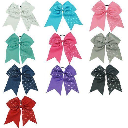 CN Girls Big Hair Bow Rhinestone Cheer Bow Attached Elastic Hair Tie for Cheerleader