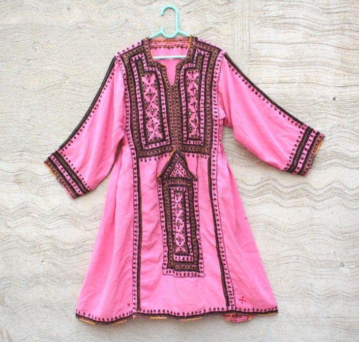 Baluchi dress,afghan embroidered boho/'s gypsy antique dress,afghani dress,hand embroidered banjara dress vintage afghan top handmade tribal