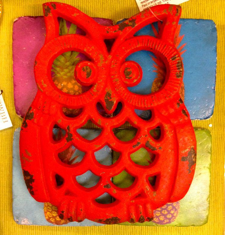 Red Metal Owl Trivet.