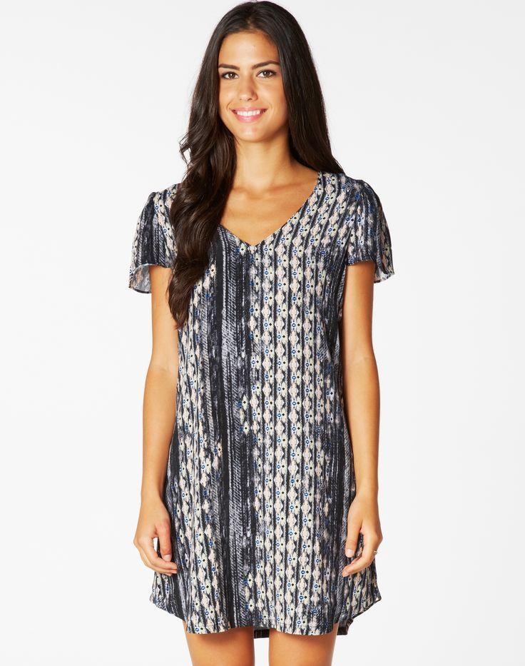 Aztec Crepe Dress