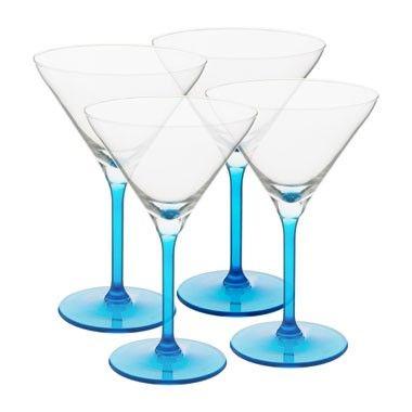 Cocktailglas colourful - 26 cl - blauw - set van 4
