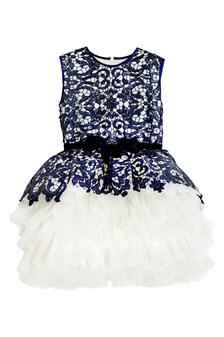 Luxury dress with navy sequins and a voluminous tulle skirt