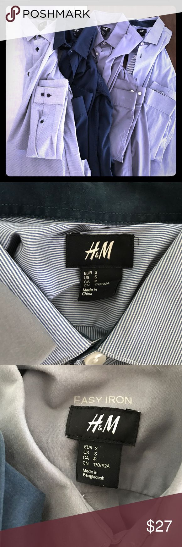 4 H&M Men's Small Dress shirts 4 H&M dress shirts. All Men's Small. Hardly worn because I like to eat a lot of hamburgers, and Small doesn't cut it anymore. No rips, holes, tears. All, pretty much, in mint condition and all have been dry cleaned.  Bid for all 4 at once. (Price is for all 4) H&M Shirts Dress Shirts
