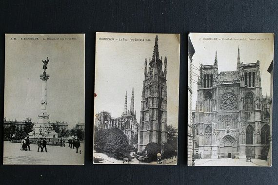Vintage Bordeaux France Antique Post Cards by Circa810 on Etsy