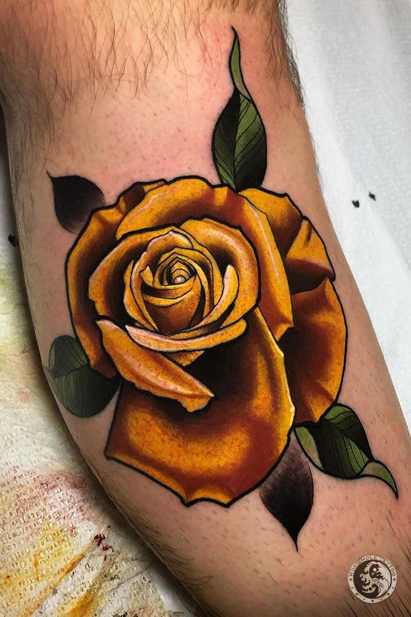 Yellow Rose Tattoo For Men By Jeff Saunders United States Rose Tattoos For Men Yellow Rose Tattoos Different Styles Of Tattoos