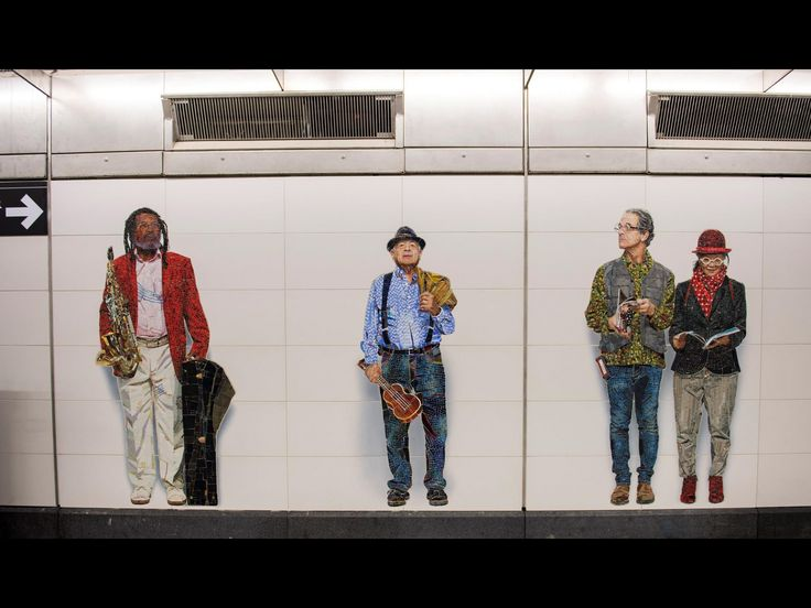"""At the 72nd Street station, Vik Muniz's installation """"Perfect Strangers"""" features colorful images of New Yorkers created in mosaic. In all, the Brazilian artist has created over three dozen characters throughout the mezzanine and entrance areas."""