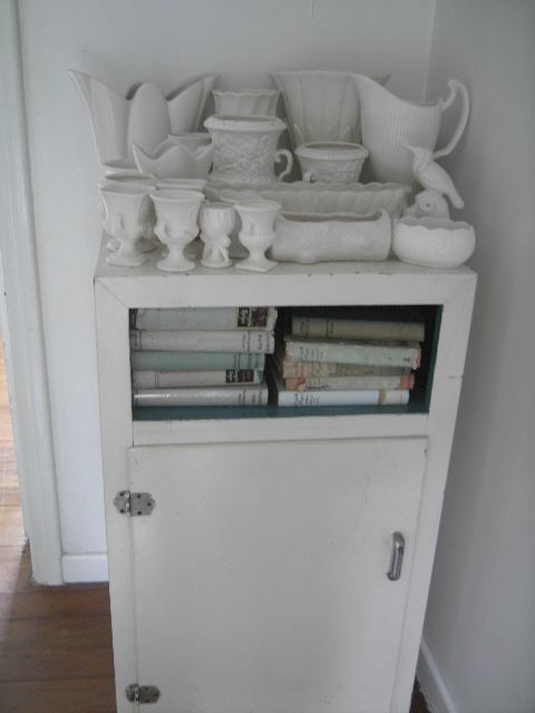 White vases on an old cabinet!
