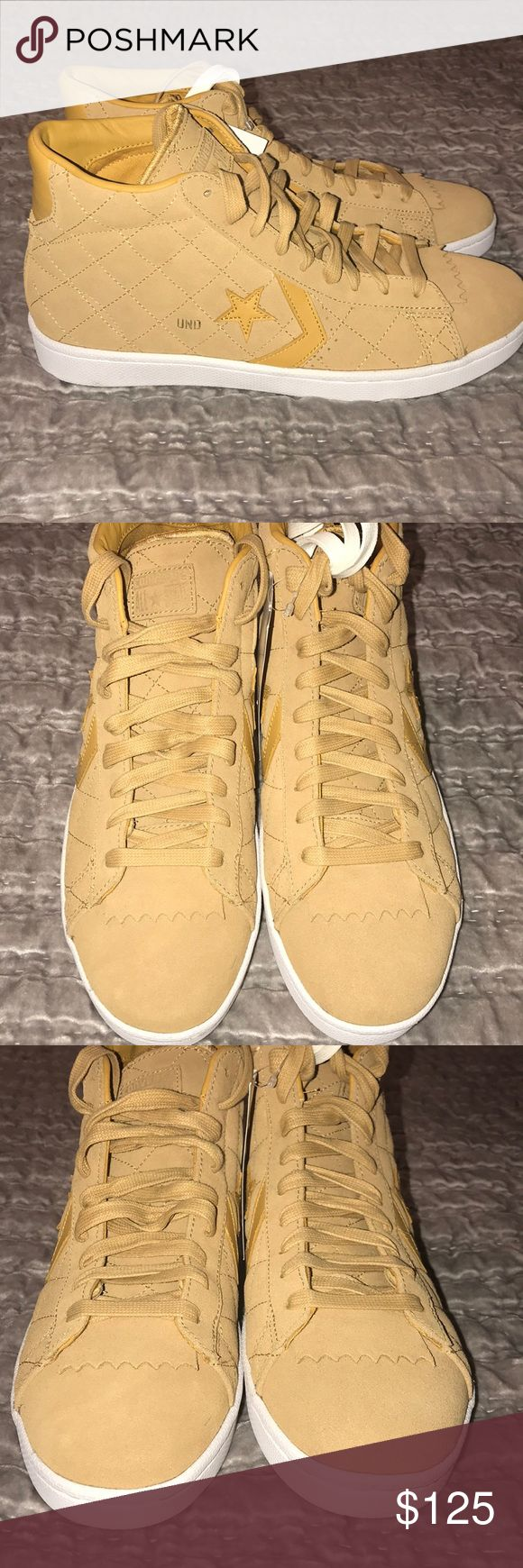 Undefeated x Converse Pro Leather Mid Taffy Used  Mens Undefeated x Converse Pro Leather Mid Taffy Brown Gold White Size 11.5 (No Box) Converse Shoes Sneakers