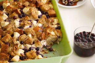Blueberry Strata- Bread, cream cheese, blueberry's, eggs, brown sugar and cinnamon and moreeeee. I am def. making this for Easter brunch! yumm!