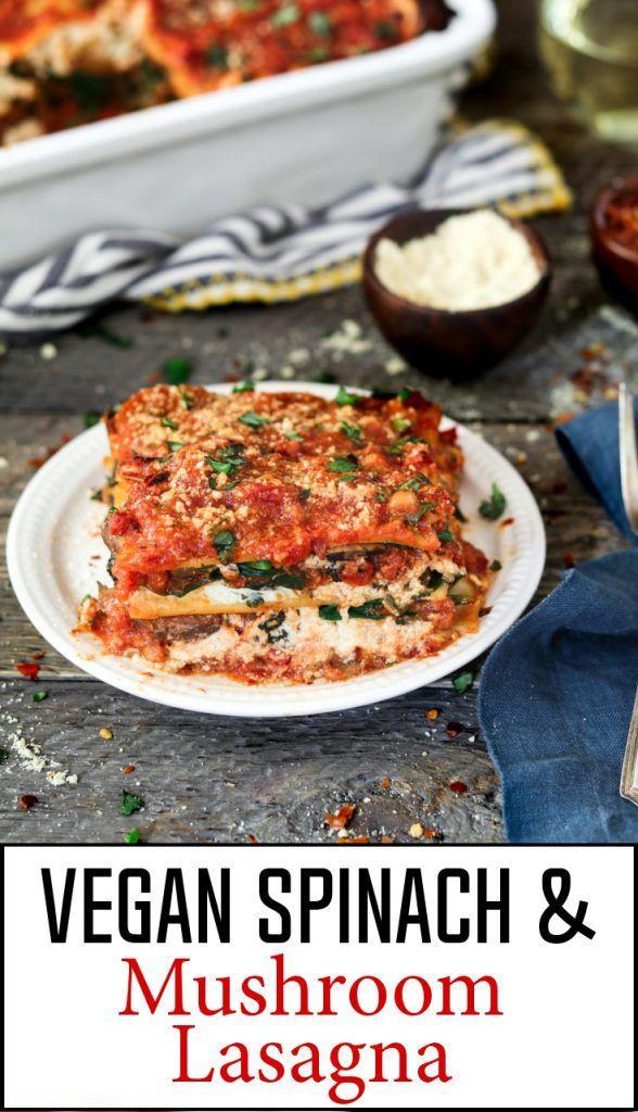 "The epitome of comfort food, this Vegan Spinach Mushroom Lasagna has 4 dreamy layers of savory marinara, creamy ""ricotta"", ribboned noodles & sautéed veggies. #veganlasagna"