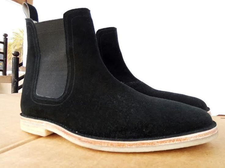 Handmade Men black suede leather boot, Mens Chelsea suede boots, Mens boot #Handmade #Chelsea