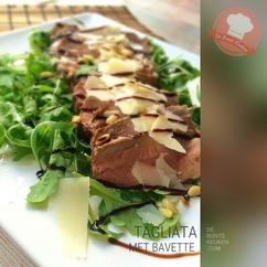 DeBonteKeuken: Tagliata!  TIP: dit is een uitstekend recept om rundvlees restje (zoals biefstuk, rib eye, ossenhaas, lende, enz) op te maken!    (vlees, rund, bavette, rucola sla, Parmezaanse kaas,  balsamico, makkelijk, avondeten, maaltijd, salade, bbq, kerst, voorgerecht)