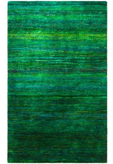 Emerald green re-purposed Sari Silk rug