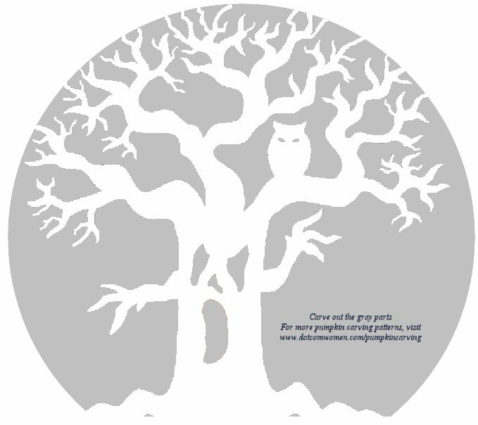 ghost tree with owl pumpkin carving pattern
