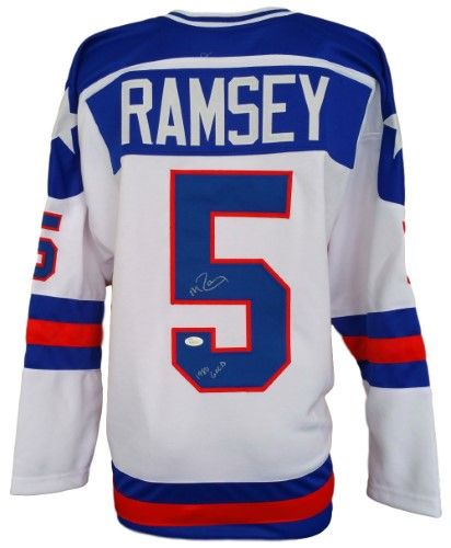 Sports Integrity 1069 Mike Ramsey Signed Custom 1980 Usa Hockey Miracle On Ice Jersey 1980 Gold Jsa As Shown Usa Hockey Ramsey Jersey