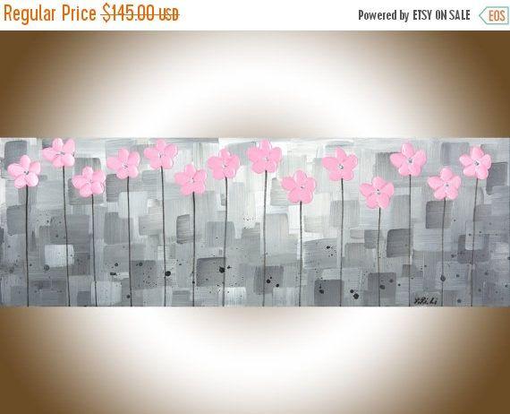 Nursery art Pink grey canvas art Pink flowers acrylic painting