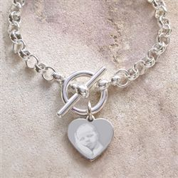 Rolo Toggle Necklace with Heart Charm in solid Sterling Silver.  Engraved with any photo of someone special in your life.