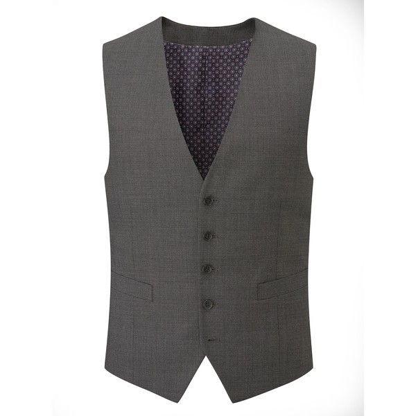 Skopes Percy Wool Blend Suit Waistcoat ($55) ❤ liked on Polyvore featuring men's fashion, men's clothing, men's outerwear, men's vests, mens formal vest, mens waistcoat vest and mens leopard print vest