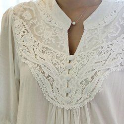 Lace Splicing Crochet Flower 1/2 Sleeve Casual Blouse For Women (WHITE,ONE SIZE) | Sammydress.com Mobile