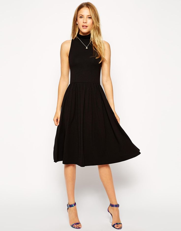 ASOS Midi Skater Dress with Turtleneck and Cutaway Arm