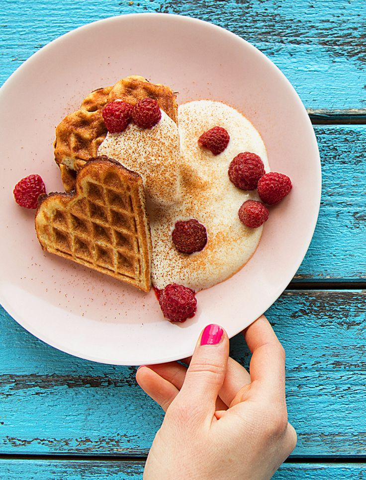 Healthy Waffle Recipe With Bananas and Eggs - Served with Raspberries