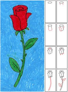 Great directions to help kids draw a realistic rose - maybe for a Valentine's Day project?