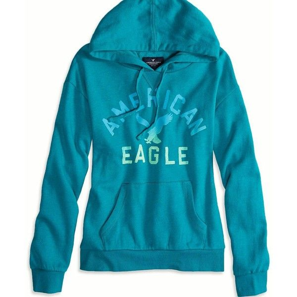 American Eagle Factory Signature Graphic Hoodie ($30) ❤ liked on Polyvore featuring tops, hoodies, maui teal, hooded sweatshirt, hooded top, american eagle outfitters top, blue top and graphic tops