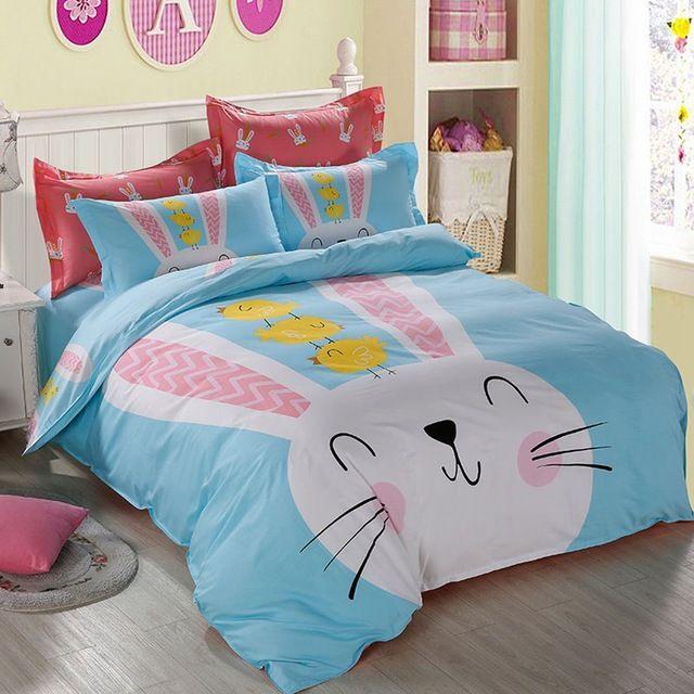 Lapin imprimé ensemble de literie, housse de couette drap de lit taie d'oreiller, 100% coton adulte/enfants housse de couette, reine taille double lit draps
