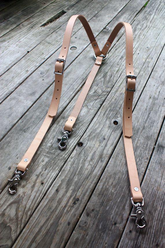 Handmade Leather Suspenders Veg Tan Natural Steampunk Gentlemen with Stainless Hardware