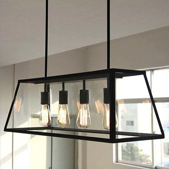 Vintage Loft Industrial American Lustre Clear Glass Box Edison Pendant Lamp Kitchen Dinning Living Room Home