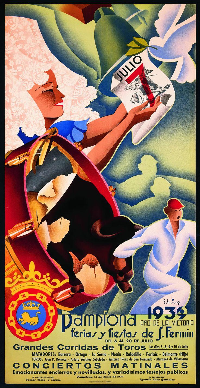 Cartel de los Sanfermines de 1939 - Fiestas y ferias de San Fermín, Pamplona :: Autor: Carlos Elvira Gorráiz #Pamplona