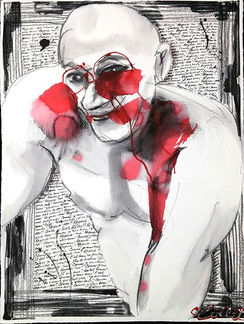 """Comme j'étais beau!  / How handsome was I! - (Time out of control series) - Mixed media on paper - 30"""" X 22"""""""