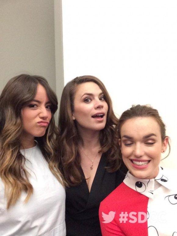 Chloe Bennet, Hayley Atwell, Elizabeth Henstridge || SDCC 2015 || 580px × 773px || #cast