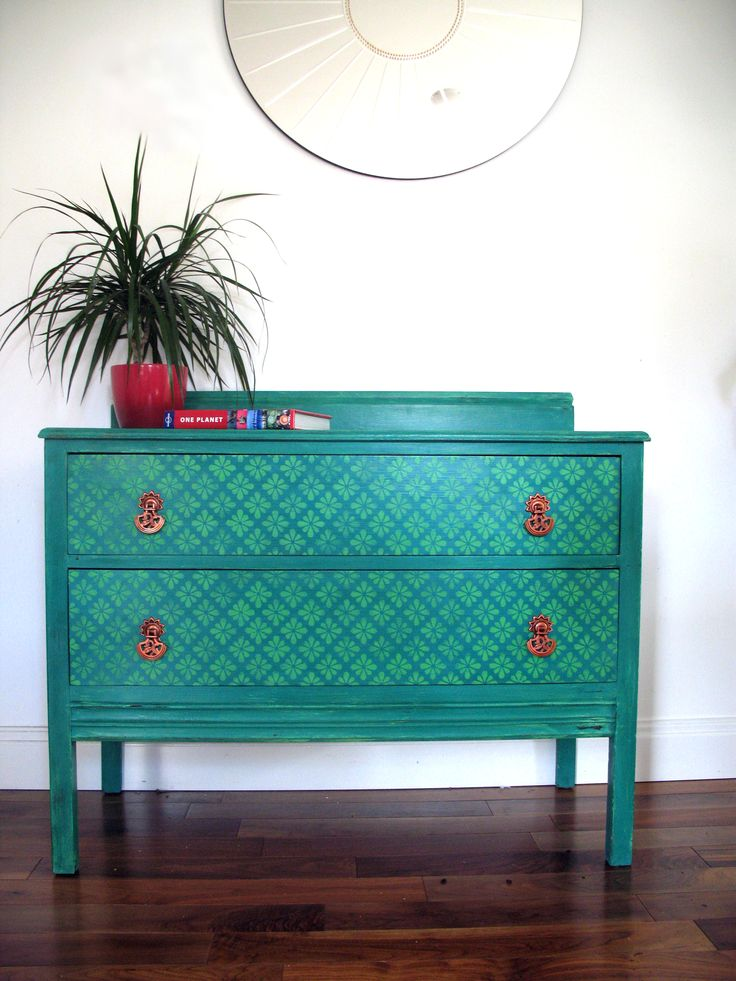Love copper and turquoise! Upcycled chest of drawers painted in Florence and Antibes Green Annie Sloan Chalk Paint