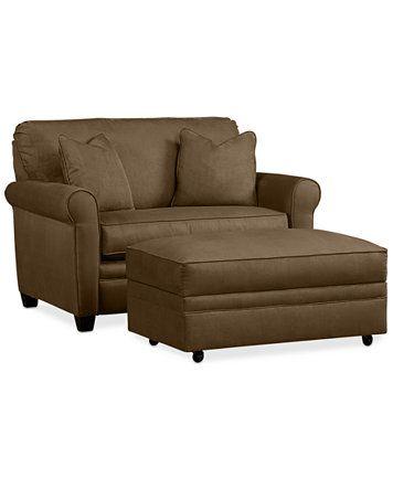 Kaleigh Fabric Sleeper Chair Bed & Storage Ottoman Set | macys.com