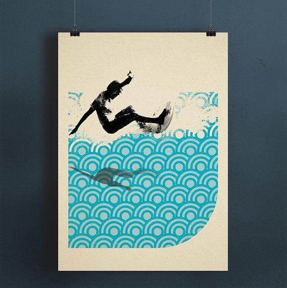 SURF  Retro-Digital Collage Print