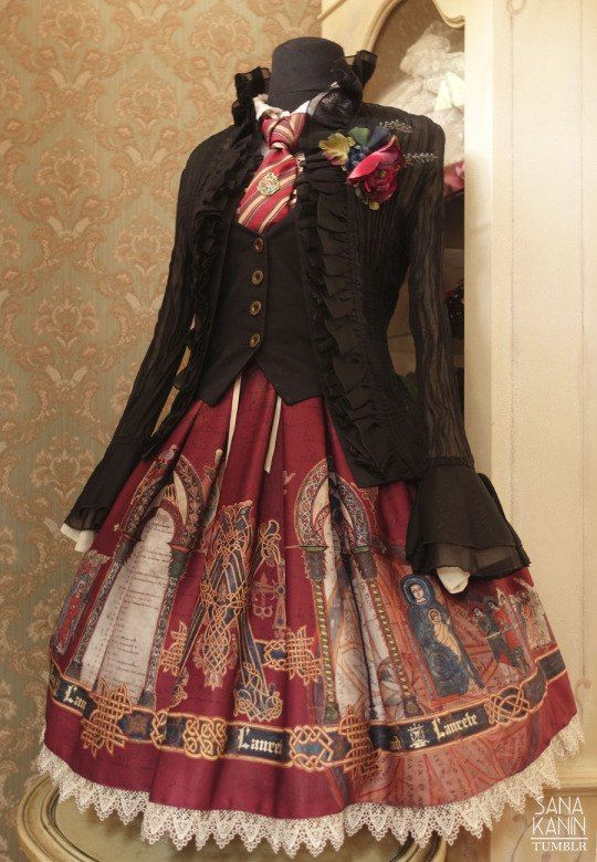 Gryffindor 1: JSK - Krad Lanrete, 'Mozarabic Chant'; vest - offbrand; blouse - offbrand; sheer chiffon blouse (worn open) - offbrand; tie - Valentino; flowers - ToxicKitty.