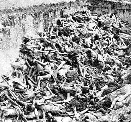 Mass graves at Bergen-Belsen concentration camp in 1945