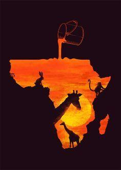 Zonsondergang verwerkt in de Afrikaanse kaart
