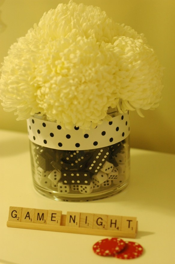 Game Night Centerpiece. So cute for Bunco
