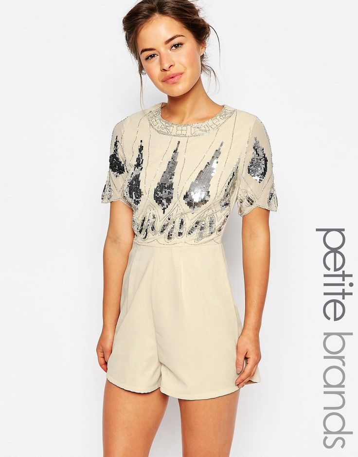 Maya+Petite+Playsuit+With+Embellished+Top