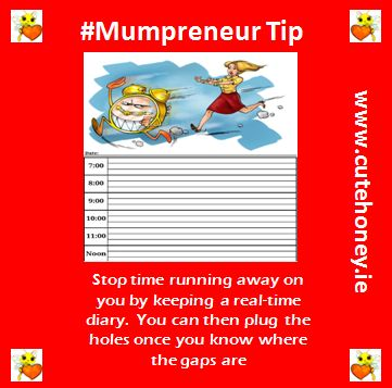 Stop time running away on you by keeping a real-time diary.  You can then plug the holes once you know where the gaps are. www.mumpreneursupportnetwork.com