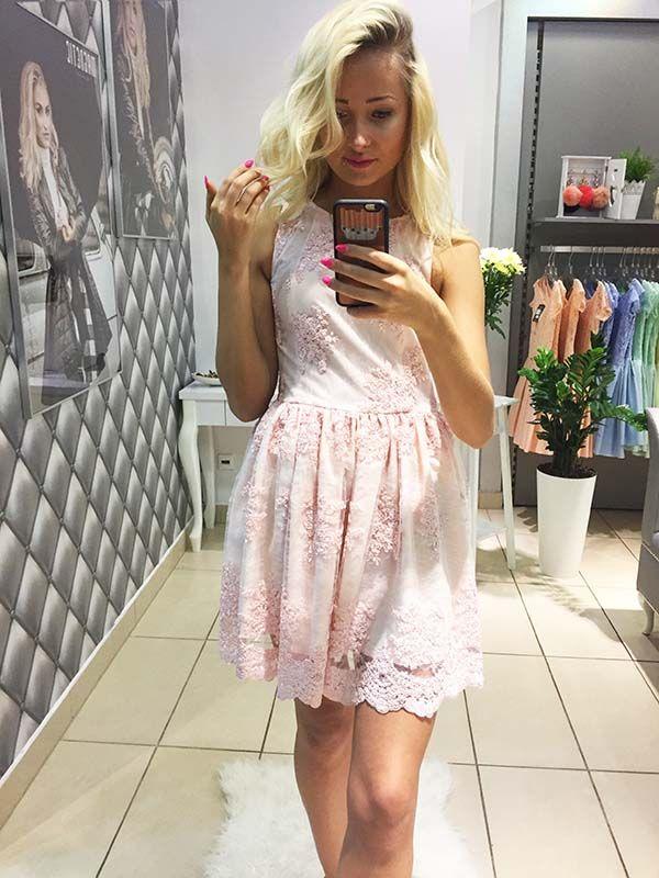 E495 Przepiękna Sukienka z Koronki Pudrowy Róż, LUXURY MAGNETIC