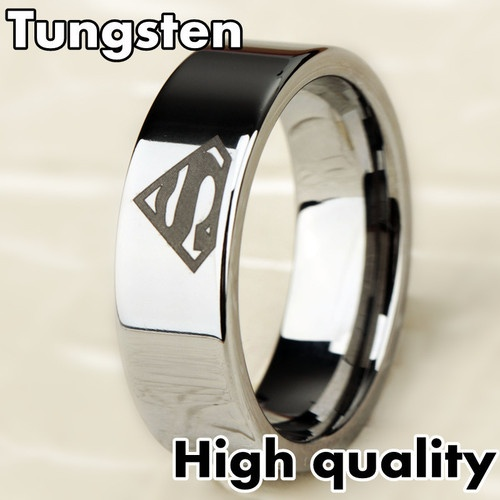 8mm bridal mens superman silver tungsten engagement ring ceremony wedding band ebay - Superman Wedding Ring