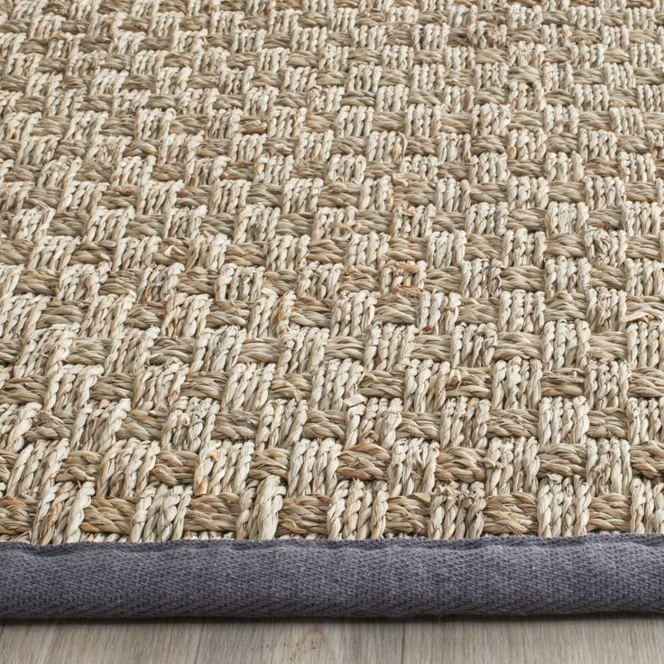 Safavieh Casual Natural Fiber Natural / Dark Grey Seagrass Rug (3' x 5') (NF114Q-3), Size 3' x 5'