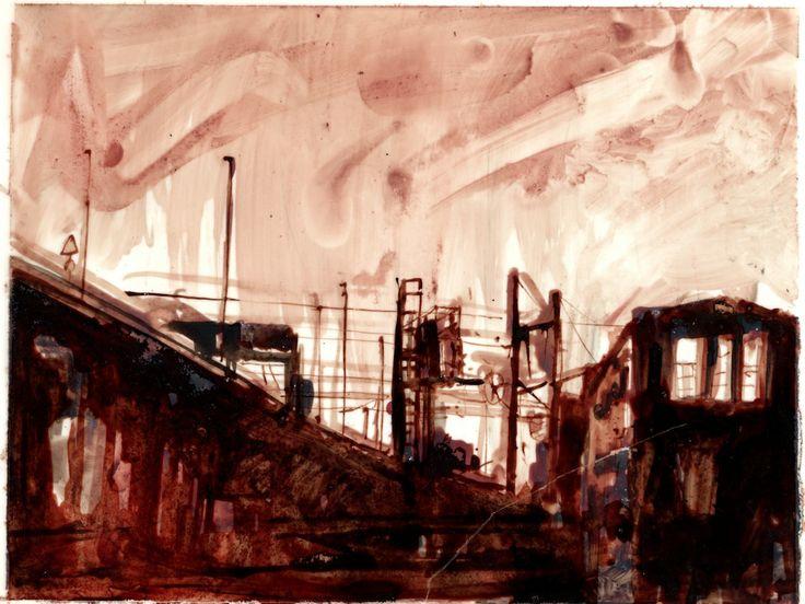 La serie Tin Town de Matthys. Peint avec du sang de boeuf sur des supports plastiques.