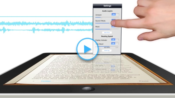 Booktrack- soundtracks for books.  This is a genius idea!  I so want to try this out, but I don't have an iPhone of iPad- dang!   I might have to get one now.